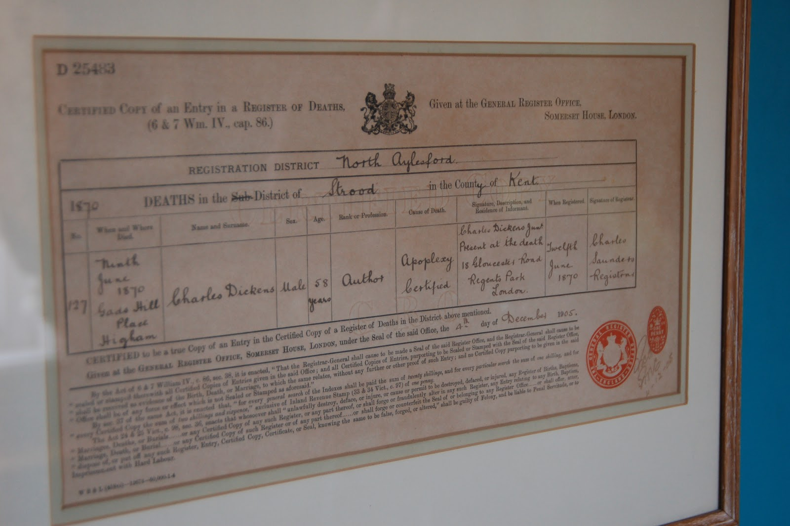 baugh s blog photo essay the homes of charles dickens copy of charles dickens s death certificate