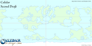 The World of Calidar, Second Draft World Map, Equirectangular Projection