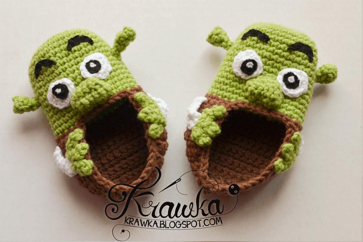 Buciki dziecięce, niemowlęce na szydełku amigurumi w kształcie zielonych shreków. Amigurumi baby disney's shrek booties crochet