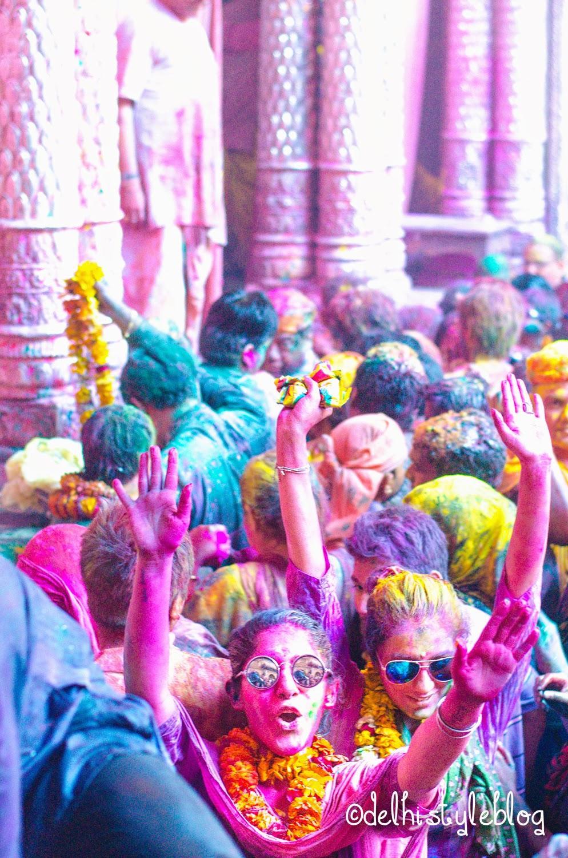 Holi at Banke Bihari Temple 14