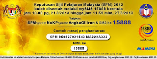 Cara Semak Keputusan SPM 2012 Melalui SMS