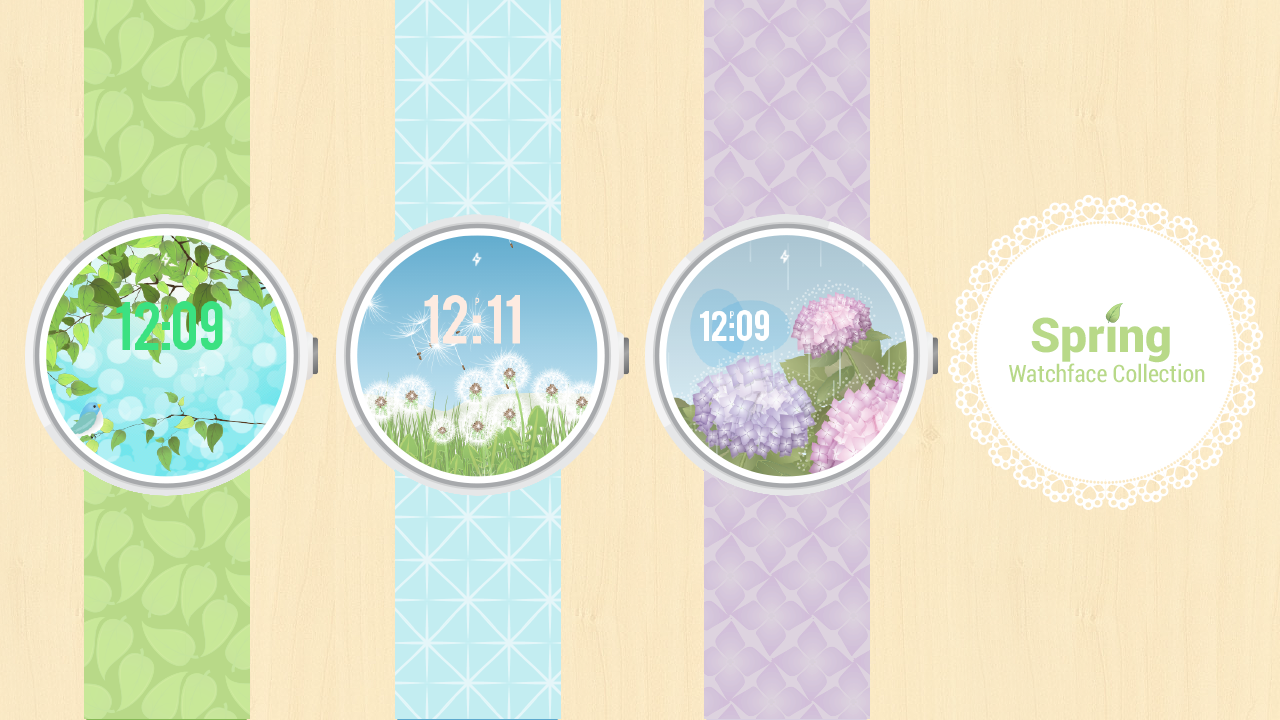 Designer android wear watchface - Spring Collection Is One Of The Very Few Watch Faces That Is On The Softer Side It Has A Feminine Touch To It Making It Look Good For Female Android Wear