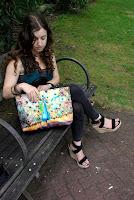cute handbags with peacock fabric