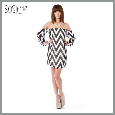 Sosie Off the Shoulder Chevron Dress