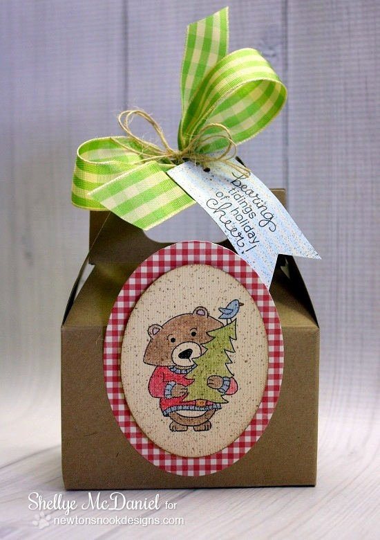 Bear with Christmas Tree Gift Tote by Shellye McDaniel for Newton's Nook Designs - Winston's Home for Christmas Stamp set
