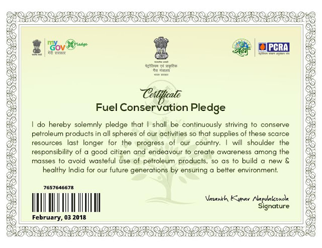 Fuel Conservation Pledge.