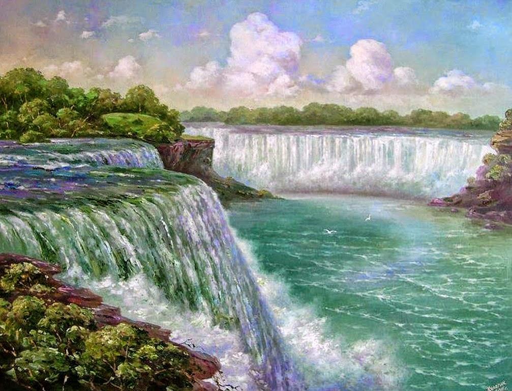 cascadas-cuadros-pintados-al-oleo