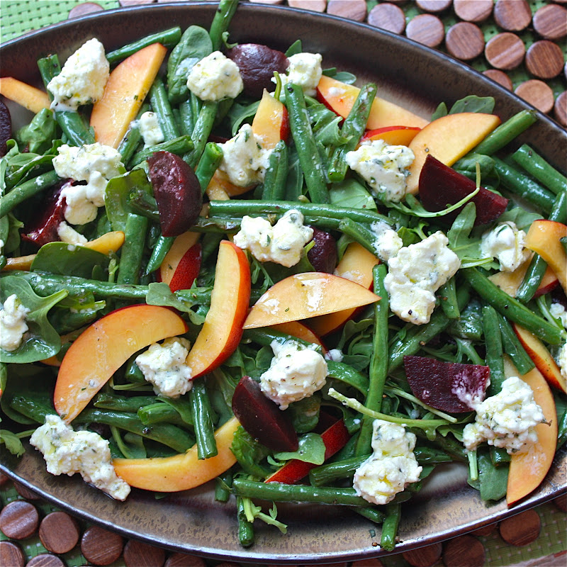 Roasted Green Bean, Beet, and Nectarine Salad with Marinated Goat ...