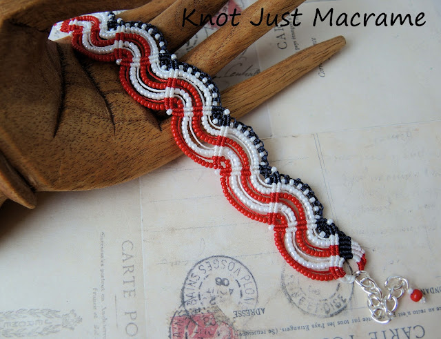 Red white and blue patriotic micro macrame flag bracelet from Knot Just Macrame