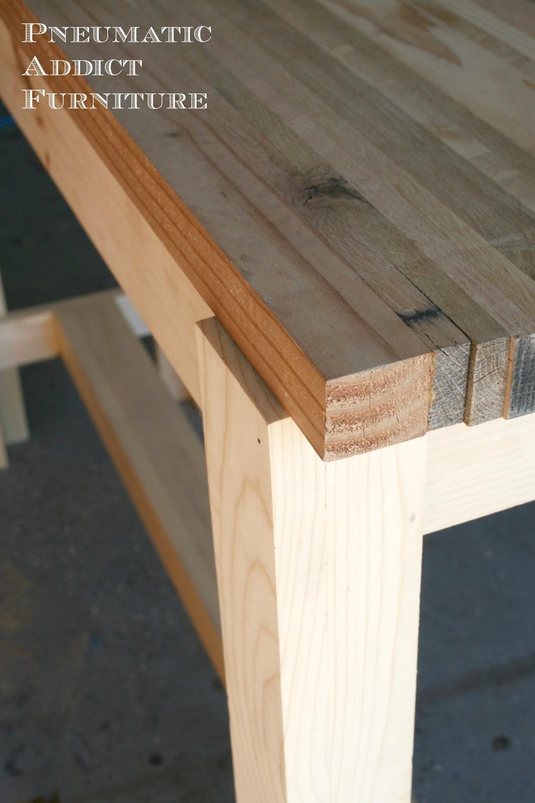 pneumatic addict butcher block sofa table