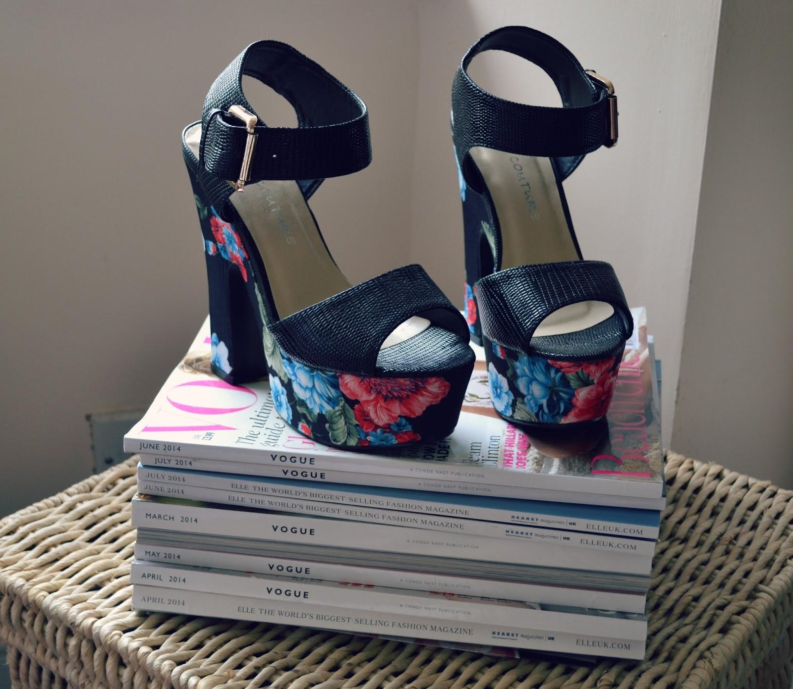 quiz tropical floral platform sandal heels shoes