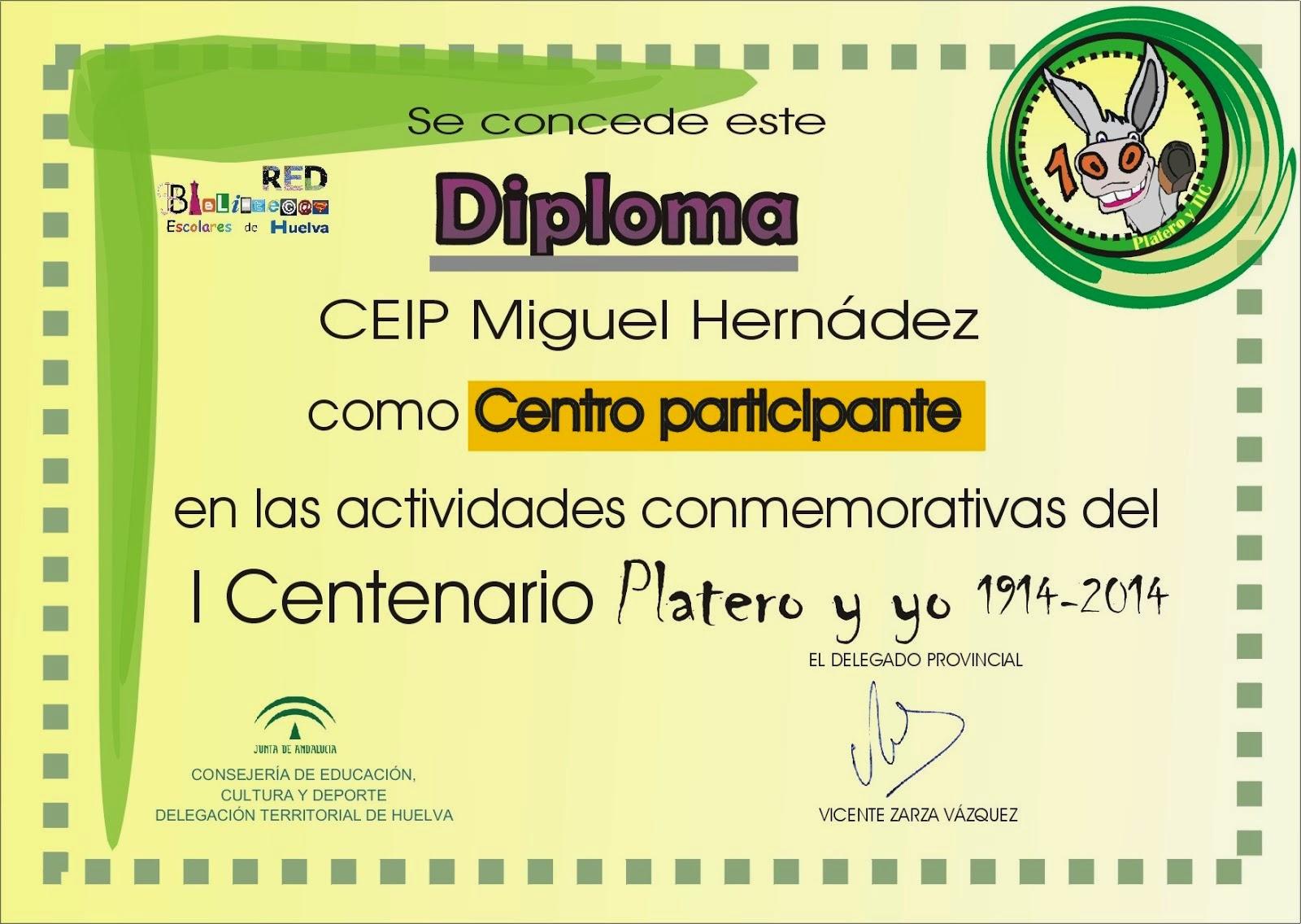 """Diploma de participación en el  """"Centenario de Platero y yo"""" de la Junta de Andalucía"""