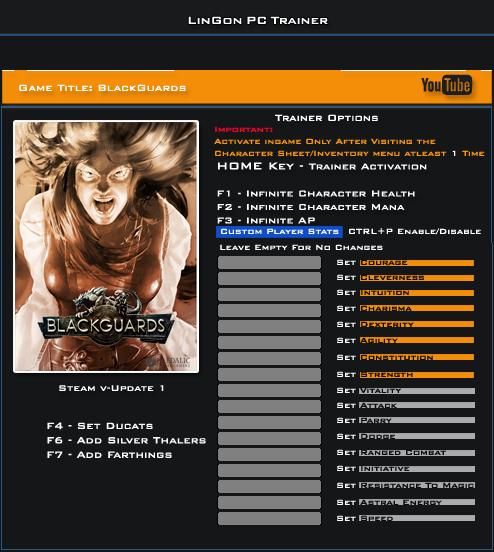 Blackguards v1.0 Trainer +23 [LinGon]