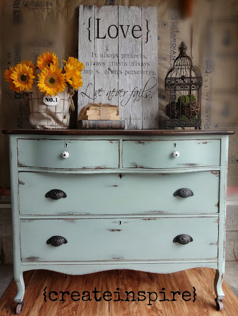 duck egg blue dresser makeover