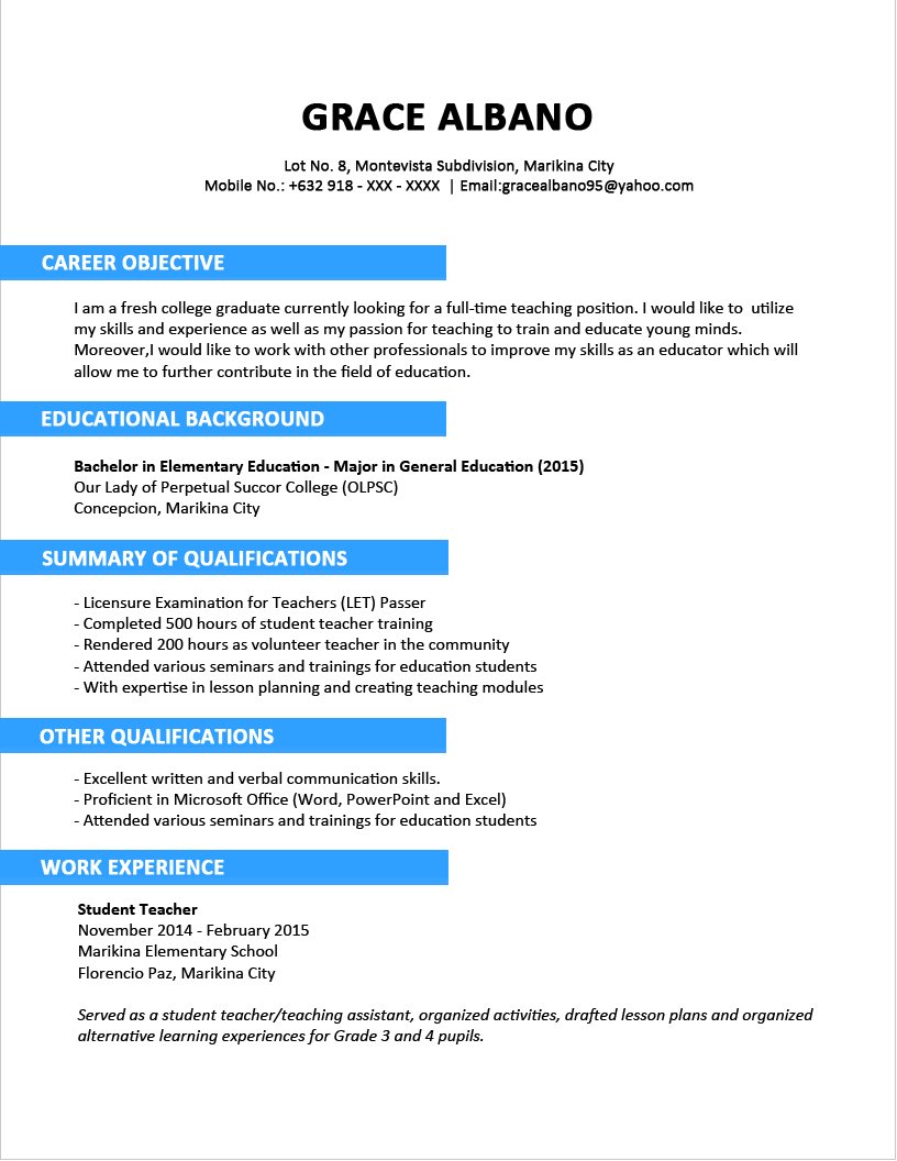 Resume templates finance