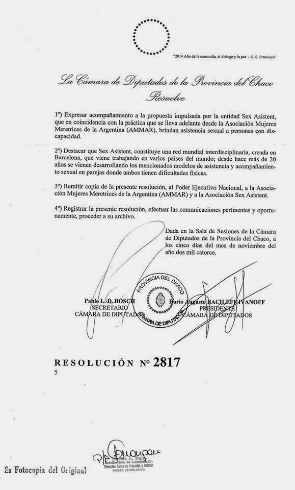 Respaldo Cámara de diputados CHACO; Argentina