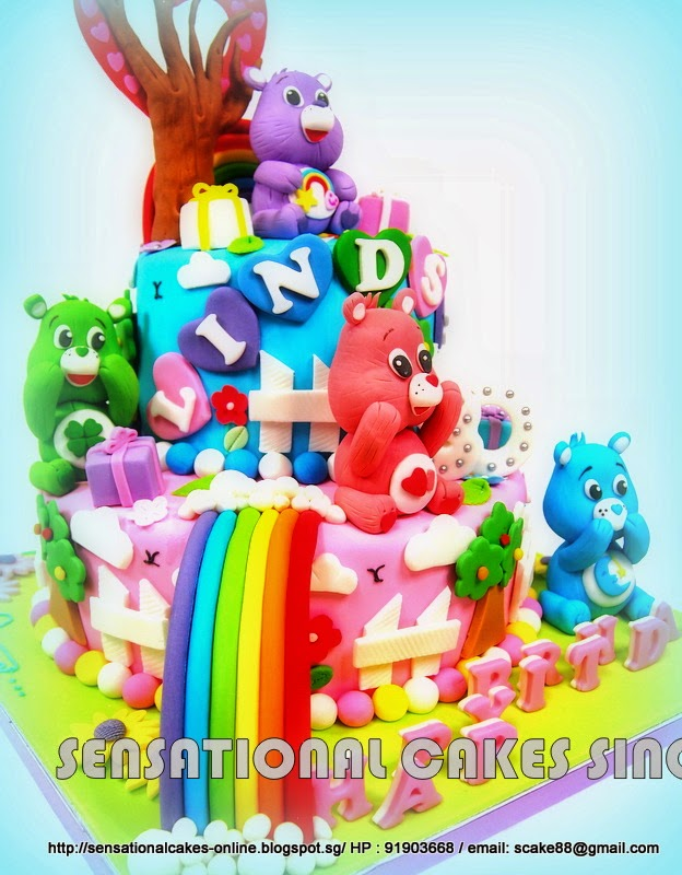 The Sensational Cakes Care Bears Theme Cake Singapore 2 Tier