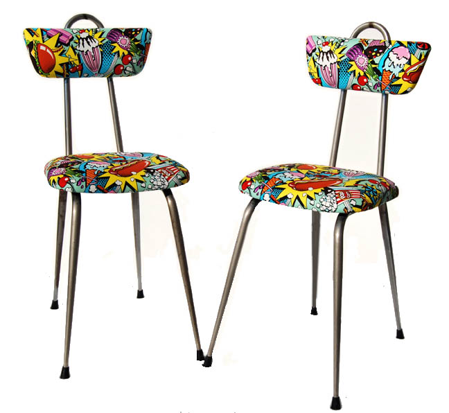 La tapicera sillas de cocina con telas retro americanas - Telas para sillas de cocina ...