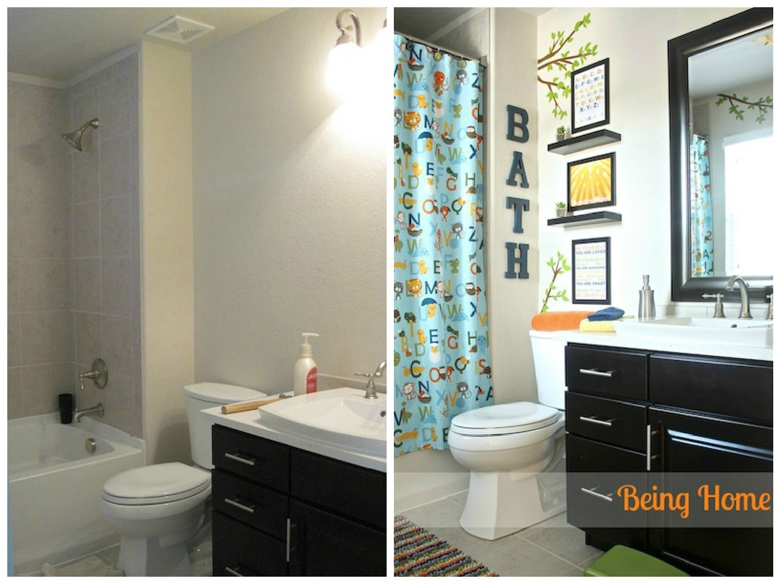 Boy bathroom before and after boy bathroom before and after for Bathroom decorating ideas pictures