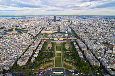 Paris, Champ de Mars and Montparnasse tower