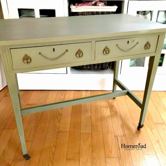 Antique writing desk painted with Annie Sloan Chalk Paint www.homeroad.net - Homeroad: Antique Writing Desk