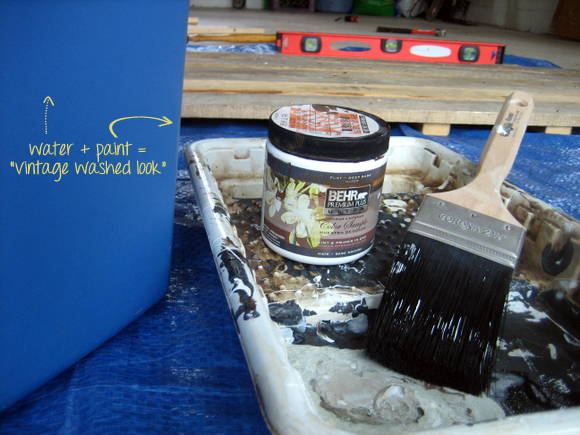 Here are the materials you need to get that vintage washed look on your DIY pallet sign - water and paint!