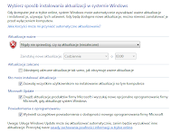 Konfiguracja ustawień aktualizacji automatycznych w systemie windows - zrzut ekranu