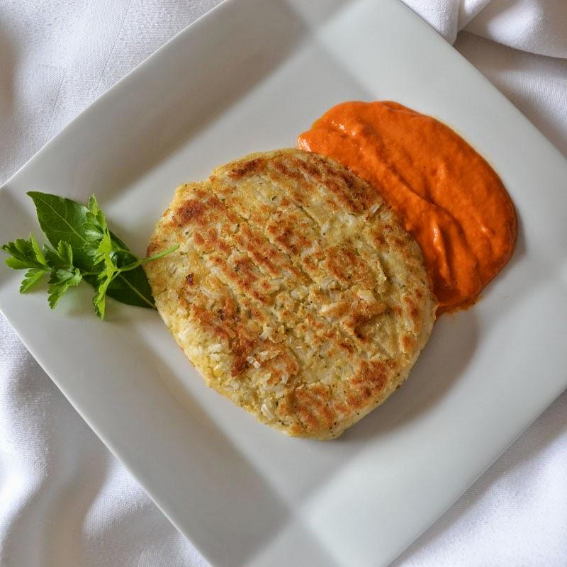 Filete ruso vegano de lenteja roja y arroz.