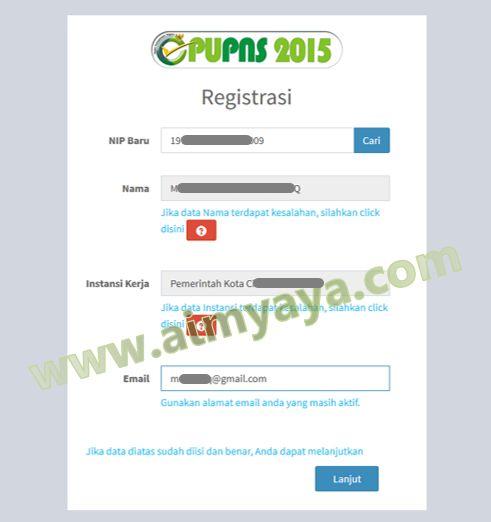 Gambar: Registrasi NIP dan email