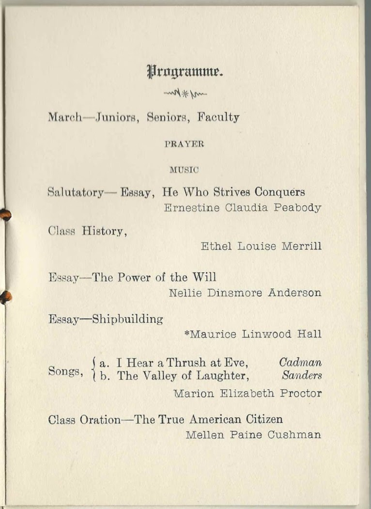 graduation program of yarmouth high school at yarmouth maine class history ethel louise merrill essay the power of the will nellie dinsmore anderson essay shipbuilding