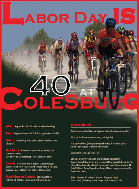 colesburg singles Colesburg gravelpocalypse september 03 2018  start: colesburg, iowa city park $20 fee (single or for both on a tandem) categories (lots of them): .