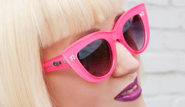 lime crime poisonberry, quay eyeware, kitti sunglasses, neon pink glasses