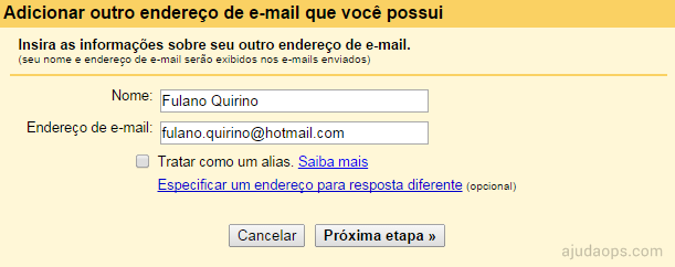 Adicionando nome e-mail de sua propriedade