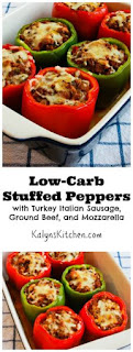 Low-Carb Stuffed Peppers with Turkey Italian Sausage, Ground Beef, and Mozzarella [from KalynsKitchen.com]