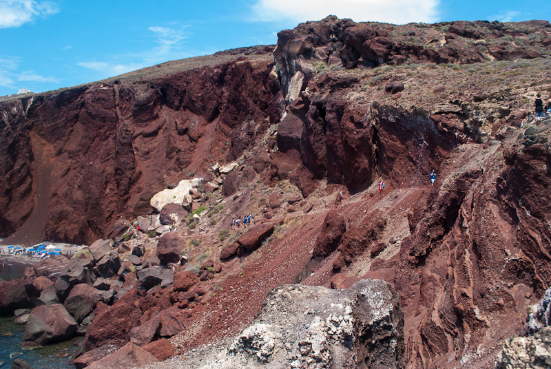 image of volcanic rocks in akrotiri red beach of santorini greece