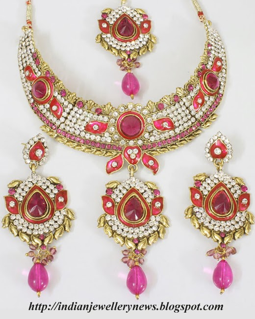White Kundan and Pink Beads Necklace Set