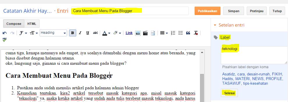 Cara Membuat Menu Pada Blogger