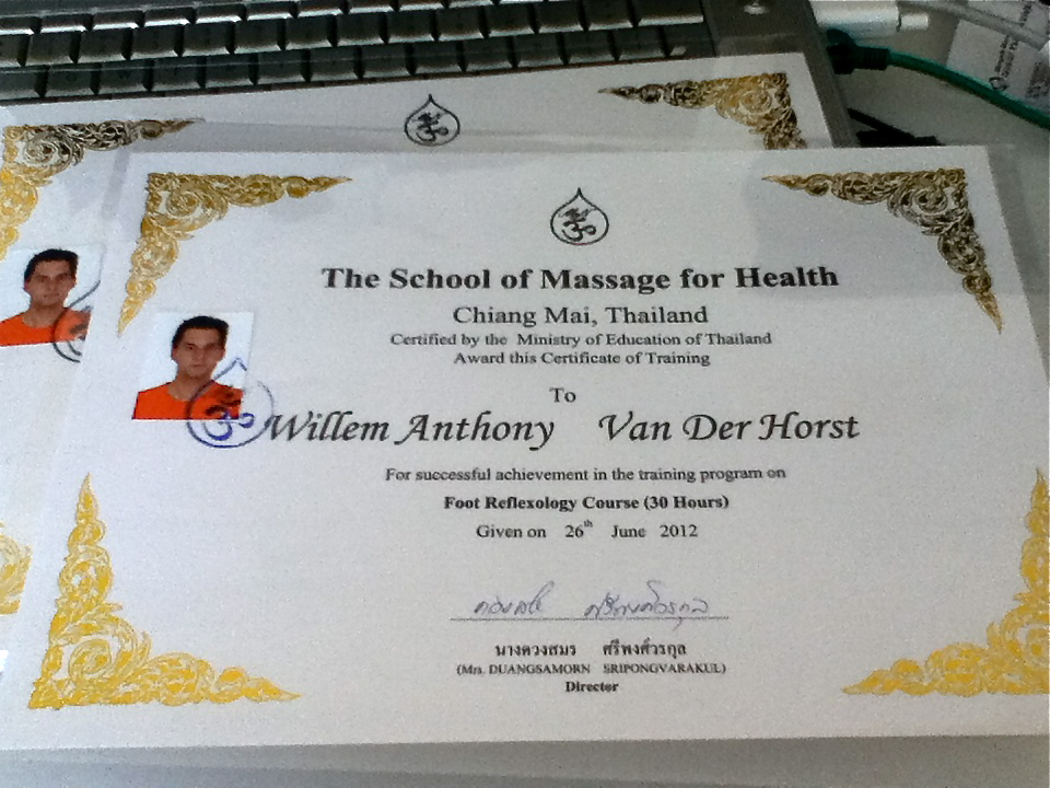 Now Certified In Thai Massage Foot Reflexology