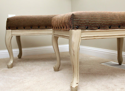footstool refinished nailhead trim