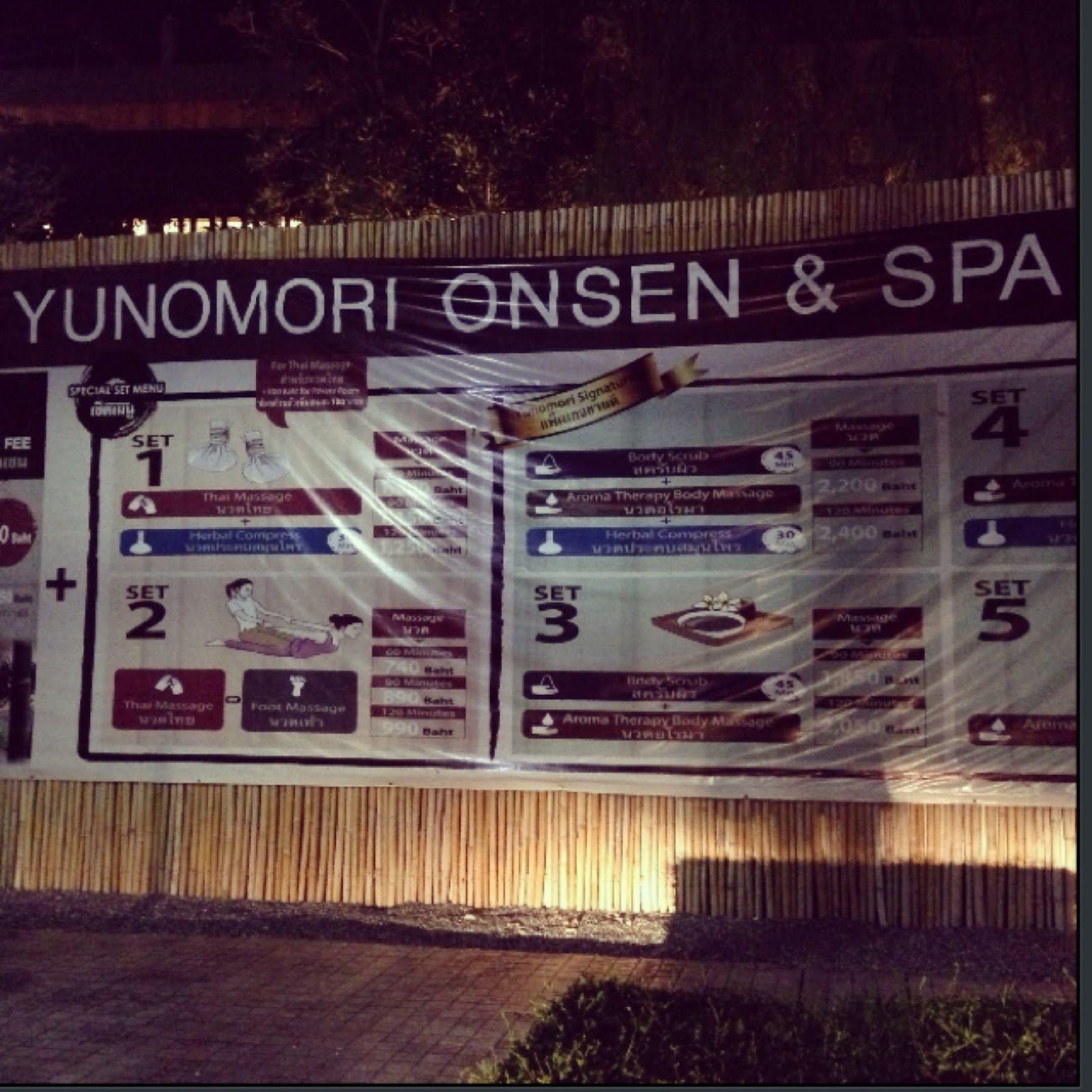 Yunomori Onsen and spa menu