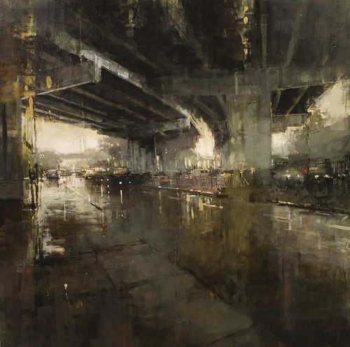 09-Beneath-the-Bayshore-Freeway-Jeremy-Mann-Figurative-Painting-in-Cityscapes-Oil-Paintings-www-designstack-co
