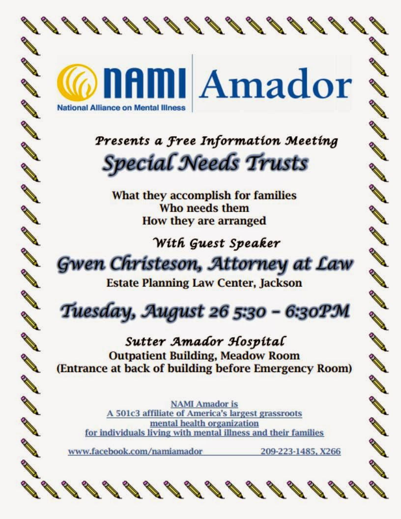 Special Needs Trusts Informational Meeting - Tues Aug 26