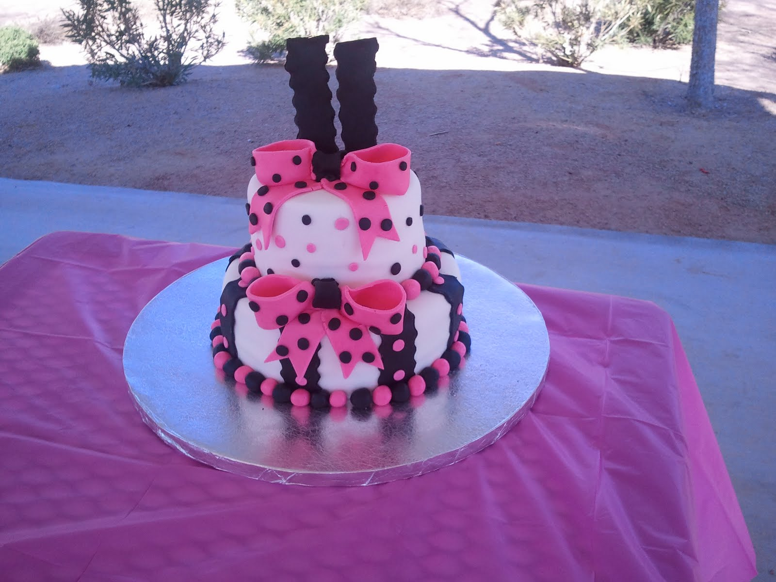 Stace A Base Cakes Hot Pink And Black Birthday Cake January 2011