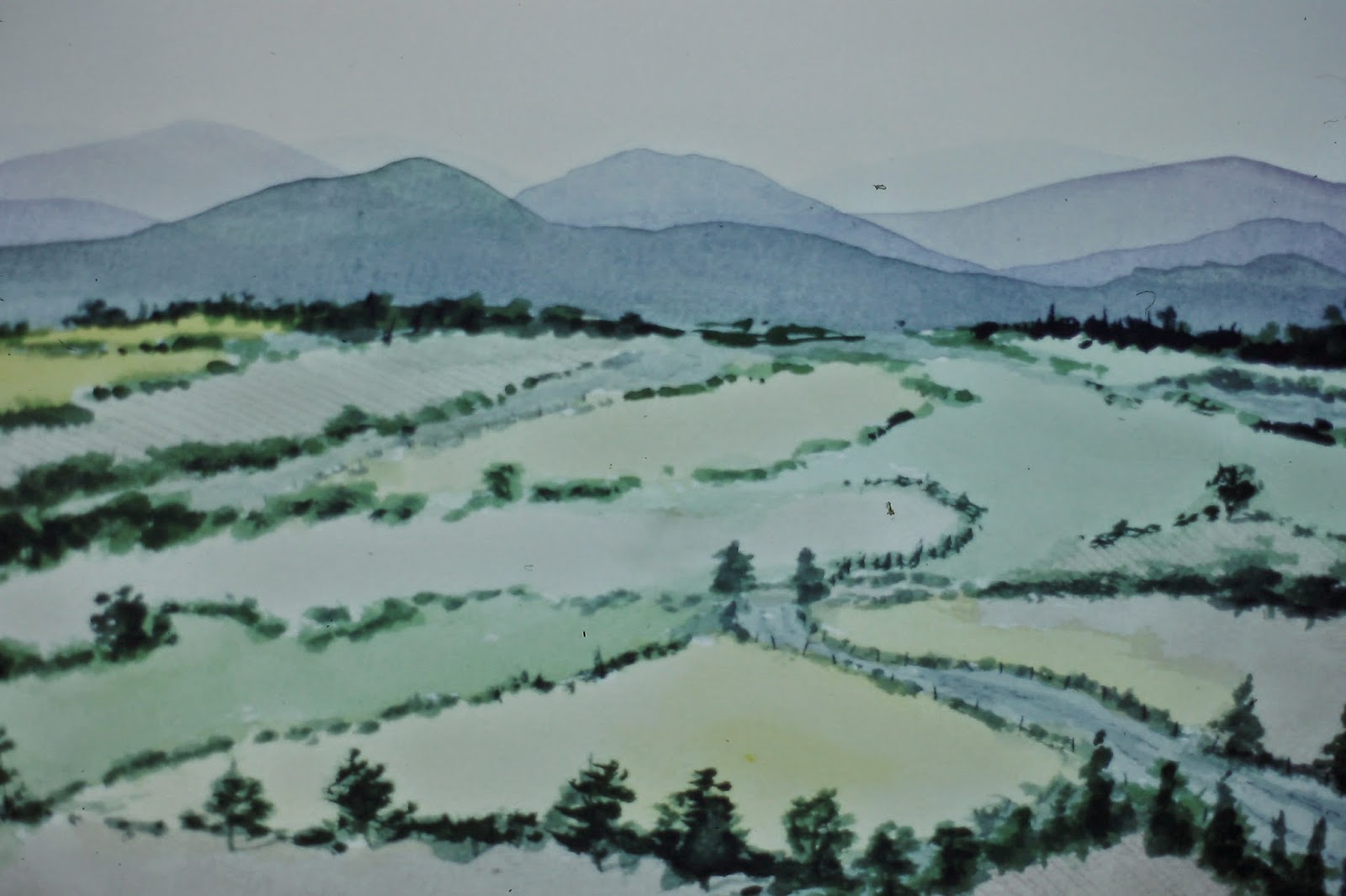 View of the Highlands, near Maryculter, Angus, Scotland  30x40 inches. Watercolor on paper, c. 1990.  In a private collection in Montrose, Scotland