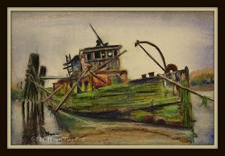 water logged ship wreck pastel ncwren 30in30