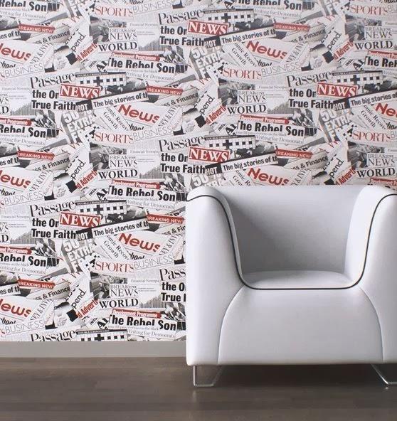 Boutique papel pintado papel pintado bluff for Papel pintado periodico