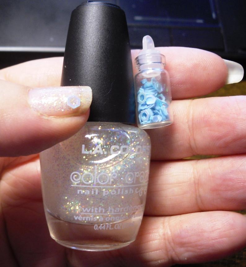 Dollar Tree L.A.Color Glitter polish and hexagon