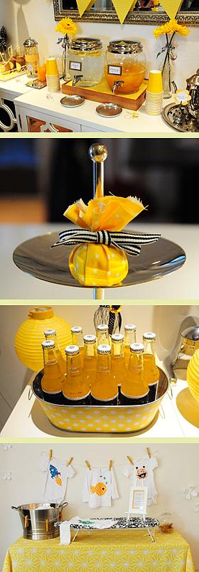 Um Chá de Bebê em amarelo, preto e branco