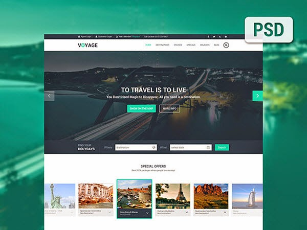 Voyage – Free travel PSD template