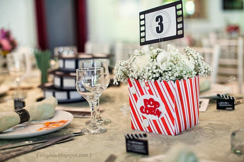 numere masa nunta, tema cinema nunta, numere masa handmade, suport flori cinema